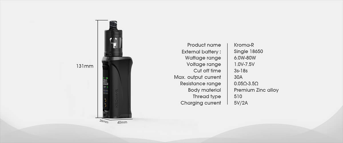 Innokin Kroma-R 80W Zlide 4ml Kit Specifications